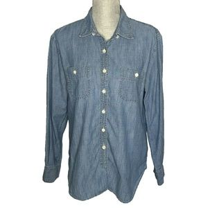 J. Crew Womens Button Down Long Sleeve Chambray De